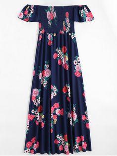 Off The Shoulder Floral Print Maxi Dress - PURPLISH BLUE M