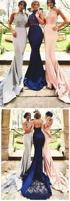 bridesmaid dress,Sexy Halter Lace Mermaid Bridesmaid Dresses,Cheap Custom Bridesmaid Dress,Long Mermaid Prom Dresses