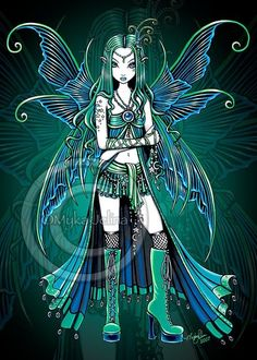 """Zoe "" Gothic Celestial Fairy Moon Stars Gothic Teal Fantasy Art prints sold directly from the artist Myka Jelina. Myka Jelina (Born in Gastonia N. Carolina) is a traditional Gothic fantasy artist appreciated and displayed by art lovers worldwide. Gothic Fantasy Art, Gothic Fairy, Fantasy Kunst, Fantasy Dolls, Fantasy Fairies, Dark Fantasy, Faerie Tattoo, Bratz, Butterfly Fairy"