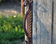 Wicket Gate Door handle, Metal handle for wood door, Wrought iron handle for the front door, Furniture, Rustik decor, Home decor
