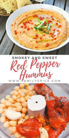 bell pepper recipes Mix together roasted red bell peppers, tahini, garlic and olive oil and you've got a smokey red pepper hummus that is not only healthy, but also delicious! Easy Hummus Recipe, Homemade Hummus, Red Pepper Recipes, Whole Food Recipes, Cooking Recipes, Roasted Red Peppers, Roasted Red Pepper Hummus Recipe Without Tahini, Red Bell Peppers, Recipes With Tahini