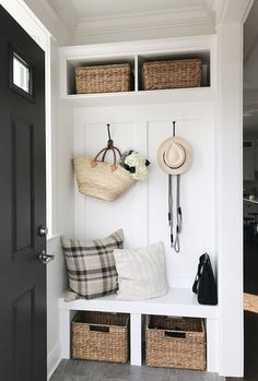 Our small but mighty mud room house ideas en 2019 mudroom, entryway closet Home Renovation, Home Remodeling, Small Mudroom Ideas, Kitchen Entryway Ideas, Small Entryway Decor, Creating An Entryway, Front Room Decor, Decor Room, Ikea Kitchen