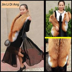 Low Price $85.20, Buy Jin Li Di Ang 2017 Brand Women Long Real Natural Red Fox Fur Scarf Genuine Luxury Soft Red Fox Hair Scarves Shawls