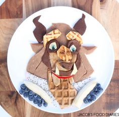 Australian Mom Turns Heathy Food into Edible Artwork  #Design #art #food #creative #mom #homemade  Beast From Beauty & The Beast. Waffles With Spelt Chocolate Pancakes, Dragon Fruit, Blueberres And Banana