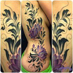 Watercolor Flower Tattoo | ... -fusco-black-flower-flourish-lotus-flower-tattoo-colroado-artist