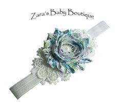 Teal Blue Green Lace Flower Headband, Turquoise Shabby Chiffon Rose Headband, Baby, Toddler, Girl, ZBB by ZarasBabyBoutique on Etsy
