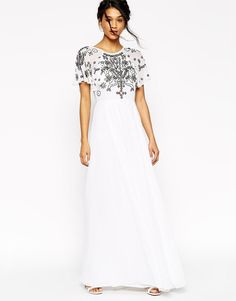 ASOS | ASOS Flutter Sleeve Maxi With Beaded Flowers at ASOS