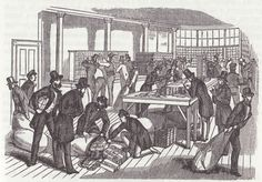 Distributing mail. San Francisco Post Office. 1858