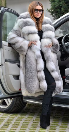 2016 ARCTIC FOX FUR COAT CLAS CHINCHILLA SABLE MINK LYNX SILVER LONG JACKET VEST | eBay
