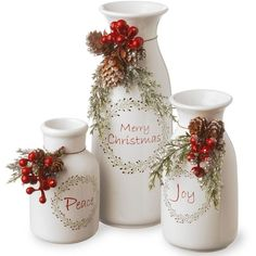 """National Tree Company """"Merry Christmas"""" Milk Bottle Table Decor... (£34) ❤ liked on Polyvore featuring home, home decor, holiday decorations, christmas, natale, white, milk bottle, pine cone home decor, holiday decor and white home decor"""