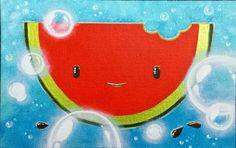 Fresh Pastèque ! 🍉🎨 #peinture #illustration #pasteque #acrylique #bebe #enfant #toilecollee #fruit #watermelon #art #drawing #painting #baby #child #deco #chambrebebe #chambreenfant #babyshower #babyroom #childroom #childdesign #decorationchild #design #tableau #picture #lapetitefabriquechloesakura
