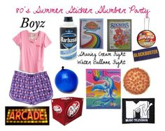 """""""80's Summer Sticker Slumber Party"""" by buttercreamkisses ❤ liked on Polyvore featuring Vera Bradley and Round Towel Co."""