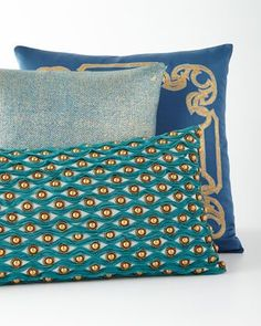 Decorative+Teal+Pillows+by+Sabira+at+Horchow. #LuxuryBeddingTeal