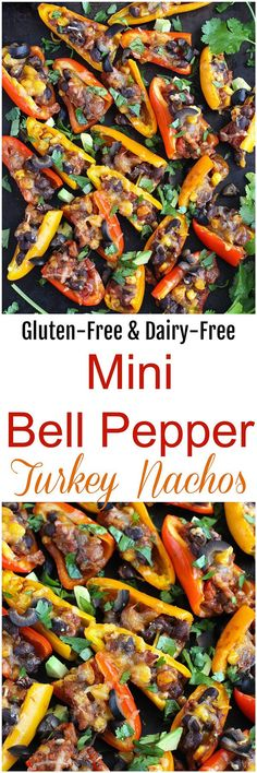 Mini Bell Pepper Turkey Nachos - These Mini Bell Pepper Turkey Nachos are loaded with turkey taco flavors – in nacho form! With bell peppers for chips and dairy-free cheese, these nachos are gluten-free and dairy-free.