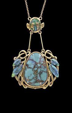 ARCHIBALD KNOX 1864-1933 | Liberty & Co Pendant. Gold, Enamel, Turquoise. British, c.1900.