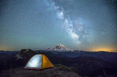 The Milky Way hovers over Mt. Rainier, as seen from our camp on the high point above Summit Lake at a. this morning. Rv Camping Checklist, Camping Hacks, Camping Ideas, Camping Packing, Camping Life, Family Camping, Camping In Washington State, Summit Lake, California Camping