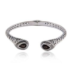 Sterling Silver Genuine Smoky Quartz and Oxidized Cuff Bracelet,