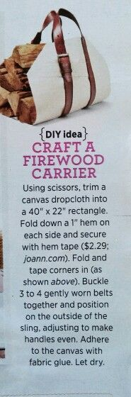 diy firewood carrier from womansday - Firewood Carrier