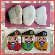 Before and After Painted Rocks: Christmas Holiday Nutcrackers