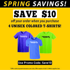 Step into spring with style! #PTGear Coloered T-shirts Power Train Sports and Fitness