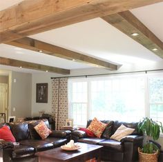 If you want to install downlights but have a solid concrete slab or flat roof above, adding faux beams allows you to fit downlights into the...
