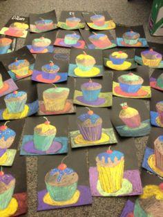 4th Grade Cupcakes- with values Wayne Thiebaud Auf artteacherinla.wordpress.com http://www.pinterest.com/helloerin/elementary-art-lessons/
