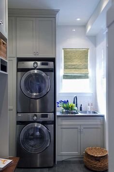 Stacked Washer And Dryer Laundry Room Design Ideas Pictures