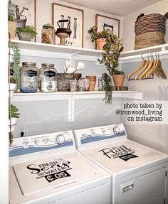 Laundry Room Decals, Tiny Laundry Rooms, Laundry Room Shelves, Laundry Room Remodel, Laundry Decor, Farmhouse Laundry Room, Laundry Room Organization, Small Laundry, Laundry Room Design
