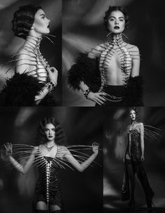 For those into avant-garde fashion, this 'rib-cage' top should command your i. Dark Fashion, Fashion Art, High Fashion, Womens Fashion, Fashion Design, Looks Rockabilly, Potnia Theron, Ideas Joyería, Look Dark