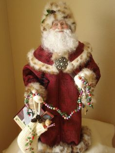 OOAK Hand Sculpted Collectable Santa by NonnasSantas on Etsy