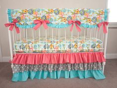 LillyBelle Garden Rocket Turquoise Aqua, Coral, and Gray   Baby Girl Crib Cot Bedding with Crib Rail Guard / Rail Cover