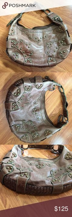 """Isabella Fiore Handbag Beautiful bag. Studded design and made of genuine leather. Some wear to the glazing on the bag. Always accepting offers! 17"""" wide 12"""" tall 8"""" handle drop. Isabella Fiore Bags Shoulder Bags"""