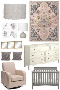 Nursery Inspiration: Pastel Pink & Grey, ecru glider, grey crib, white dresser, neutral animal wall art, natural wood mirrors, floral pendant