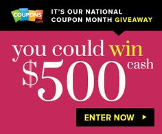 Celebrate! It's National Coupon Month and You Could Win CASH!  Coupons.com is giving away $500 a day through 9/15