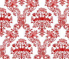 Chinese Papercut Damask fabric by chantal_pare on Spoonflower - custom fabric