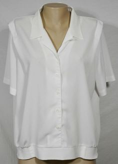 White Short Sleeved Collared Blouse w/ Elastic Side and Back Waist Approx 2X #Unbranded #Blouse #Casual