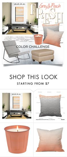 """""""Fresh Gray & Peach"""" by clotheshawg ❤ liked on Polyvore featuring interior, interiors, interior design, home, home decor, interior decorating, Victoria Beckham, Dot & Bo, ExceptionalSheets and colorchallenge"""