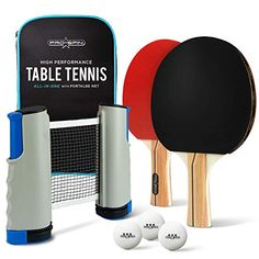 All-in-ONE Ping Pong Set - Includes Ping Pong Net for Any Table, 2 Ping Pong Paddles/Rackets, White Ping Pong Balls, Premium Storage Case Table Tennis Equipment, Table Tennis Set, Table Tennis Racket, 3 Balls, Ping Pong Paddles, Portable Table, Rackets, Things That Bounce, All In One