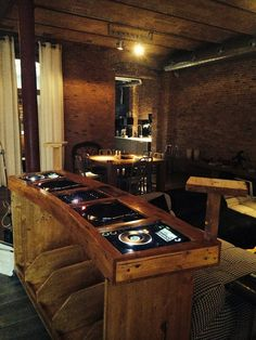 When setting up a basement bar there are some must have items you must have around or your basement bar won't really be a bar but just a basement pretending to be. Home Studio, Dj Dj Dj, Dj Stand, Dj Table, Dj Decks, Home Music, Vinyl Record Storage, Vinyl Shelf, Dj Setup