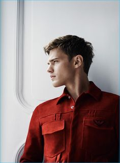Bo Develius fronts the Cruise 2017 campaign of Emporio Armani, shot by Lachlan Bailey and styled by Elodie David-Touboul. Giorgio Armani, Emporio Armani, Bo Develius, Rain Suit, Poses, Good Looking Men, Leather Men, Leather Jackets, Male Models
