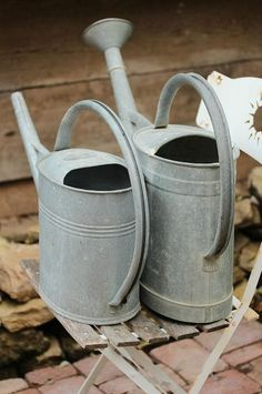simple galvanized watering cans...