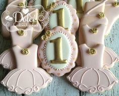 Ballet Tutu Ballerina Birthday First Birthday Pink and Gold Cookies by DolceCustomCookies on Etsy https://www.etsy.com/listing/239420402/ballet-tutu-ballerina-birthday-first