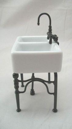 Kitchen Sink Small -  1.742/4 dollhouse miniature furniture porcelain 1/12 scale #ReutterPorzellan
