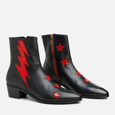 The black & red bolt boot is a fan favorite! It is made on a all-leather heel. The toe shape is a perfect point that is fashionable yet comfortable. Gifts For Nan, How To Make Shoes, Designer Boots, Toe Shape, New Shoes, Leather Heels, Rubber Rain Boots, Chelsea Boots, Bootie Boots