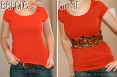 How to Lengthen a Shirt thats too Short By Discover. Create. Live. Makes a wonderful T-Shirt upcycle / redo regardless if its too short or not, would bring color to a plain tee or if you want to get rid of a bad stain this would be perfect (instead of having to throw that favorite tee away).