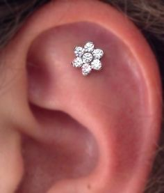Crystal Flower Simple Ear Piercing Ideas Cartilage Helix Barbell Stud at MyBodiArt.com