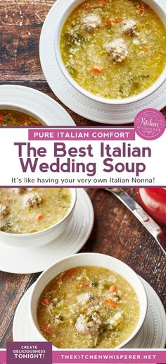 This Authentic Italian wedding soup is like a bowl of pure comfort and a hug from an Italian Nonna! Mini meatballs escarole carrots and acini di pepe pasta make this the best anytime soup! the best italian wedding soup mini meatball soup authentic wedding Beef And Pork Meatballs, Mini Meatballs, Tasty Meatballs, Italian Wedding Soup Recipe, Italian Soup, Italian Recipes, Italian Cooking, Orzo, Kitchen Recipes