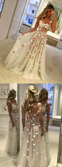 Pretty Appliques Floor-length Straps Charming Fashion High Quality Prom Dresses, Evening dresses, PD0592 #sposabridal#promdresses