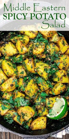 Middle Eastern Spicy Potato Salad Recipe The Mediterranean Dish. A Light, Mayonnaise-Free Potato Salad. Stacked With Flavor From Garlic, Spices Like Turmeric, Fresh Herbs And Lime Juice. Meets up In Mins Click The Image To See The Step-By-Step On Lebanese Recipes, Indian Food Recipes, Syrian Recipes, Turkish Recipes, Indian Potato Recipes, Moroccan Recipes, Potato Dishes, Food Dishes, Spicy Potato Salad Recipe