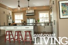 We love this large functional kitchen that overlooks a beautiful view of the river. Featured in the Summer 2012 issue of East Coast Living. Photo by Joanna Nickerson, Studio Rouge Functional Kitchen, Living Magazine, Kitchen Reno, East Coast, Kitchens, Cottage, Homes, Dreams, River